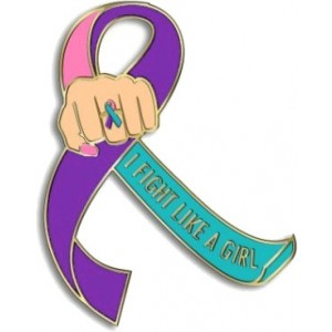 """""""I Fight Like a Girl Fist"""" Lapel Pin - Teal, Purple, and Pink"""
