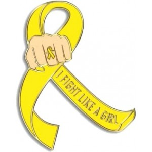 """I Fight Like a Girl Fist"" Lapel Pin - Yellow"