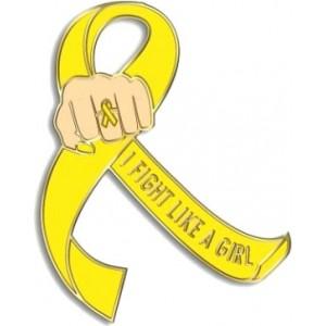 """I Fight Like a Girl Fist"" Lapel Pin - Yellow"