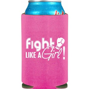 """Fight Like a Girl Signature"" Koozie - Pink"