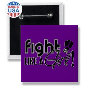 Fight Like a Girl Square Button Purple Ribbon