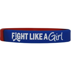 """Fight Like a Girl Hybrid"" Ink-Filled Silicone Wristband - Blue & Red"