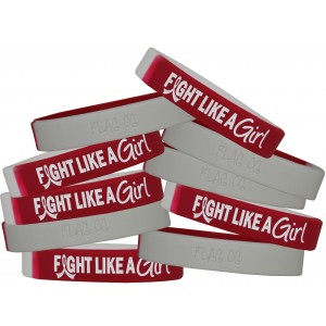 """Fight Like a Girl Hybrid"" Ink-Filled Silicone Wristband - Burgundy and White"
