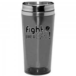 """""""Fight Like a Girl Signature"""" Stainless Steel Acrylic Travel Tumbler - Grey"""