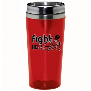 """Fight Like a Girl Signature"" Stainless Steel Acrylic Travel Tumbler - Red"