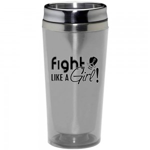 """Fight Like a Girl Signature"" Stainless Steel Acrylic Travel Tumbler - Silver"