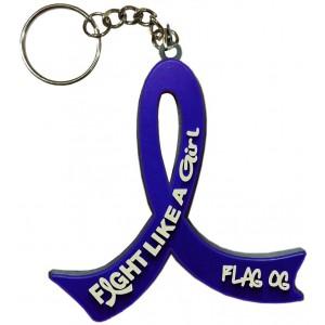 """Fight Like a Girl Hybrid"" Awareness Ribbon Keychain - Blue"