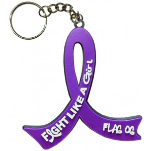 Fight Like a Girl Purple Ribbon Key Chain for Lupus, Fibromyalgia, Pancreatic Cancer, Cystic Fibrosis