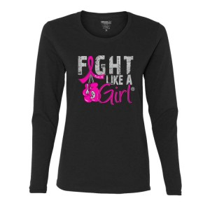 Breast Cancer Long-Sleeved T-Shirt with Boxing Gloves by Fight Like a Girl