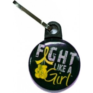 Fight Like a Girl Zipper Pull Childhood Cancer Neuroblastoma