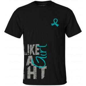 Fight Like a Girl Side Wrap T-Shirt Teal Ribbon