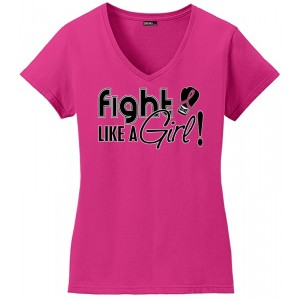 Fight Like a Girl Breast Cancer V-Neck Shirt - Form Fitting