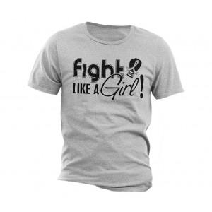"""Fight Like a Girl Signature"" Unisex T-Shirt - Heather Grey"