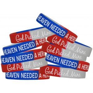 """""""Heaven Needed a Hero"""" Silicone Wristband - Red, White, & Blue"""