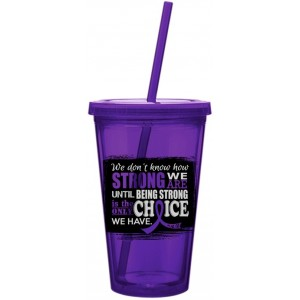 How Strong We Are Purple Ribbon Acrylic Tumbler with Straw