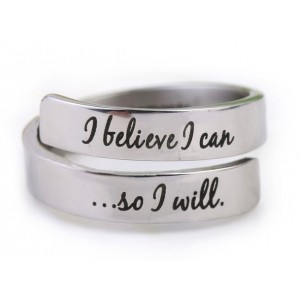 I Believe I Can So I Will Inspirational Ring Stainless Steel by Fight Like a Girl