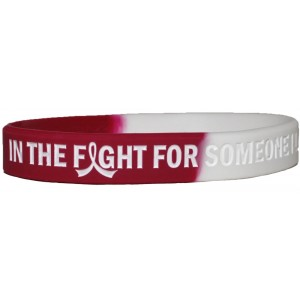 """In The Fight"" Ink-Filled Wristband Bracelet - Burgundy, White"