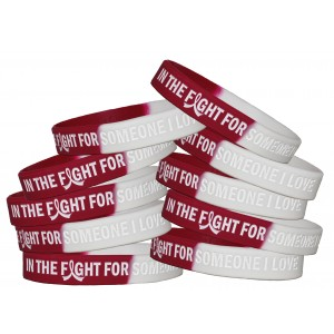 """In The Fight"" Breast Cancer Silicone Wristband - Burgundy, White"