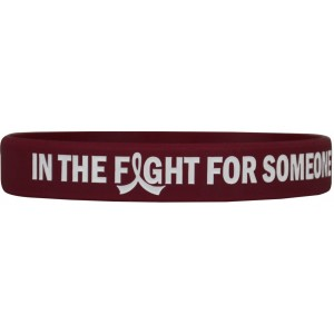 """In The Fight"" Ink-Filled Silicone Wristband Bracelet - Burgundy"
