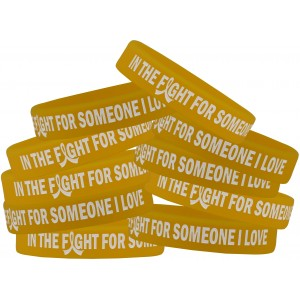 """In the Fight"" Silicone Wristband Bracelet - Gold"
