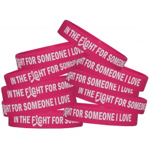 """In The Fight"" Breast Cancer Silicone Wristband - Hot Pink"