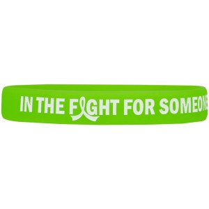 """In The Fight"" Ink-Filled Silicone Wristband Bracelet - Lime Green"