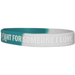 """""""In The Fight"""" Ink-Filled Silicone Wristband Bracelet - Teal, White"""