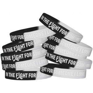 """""""In The Fight"""" Ink-Filled Silicone Wristband - Black and White (10 Pack)"""