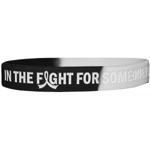 """""""In The Fight"""" Ink-Filled Silicone Wristband Bracelet - Black, White"""