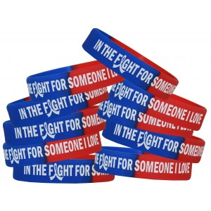 """In The Fight"" Breast Cancer Silicone Wristband - Blue, Red"
