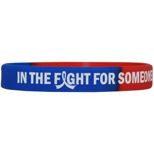 """In The Fight"" Ink-Filled Wristband Bracelet - Blue, Red"