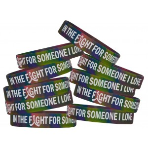 """In the Fight"" Ink-Filled Silicone Wristband - Rainbow Tie-Dye"