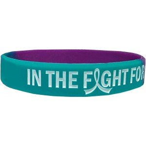 """In The Fight"" Ink-Filled Suicide Awareness Wristband Bracelet - Teal, Purple"