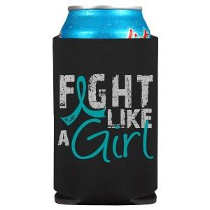 Fight Like a Girl Koozie Can Cooler for Ovarian Cancer, Cervical, PKD