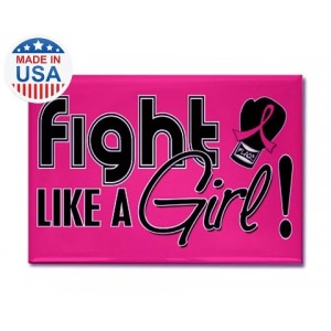 Pink Fight Like a Girl Fridge Magnet Breast Cancer