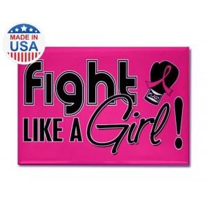 Pink Fight Like a Girl Fridge Magnet Breast Cancer