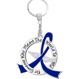 """""""Meant The World To Me"""" Tribute Keychain - Blue Ribbon"""