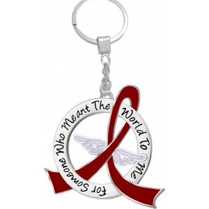 """""""Meant The World To Me"""" Tribute Keychain - Burgundy Ribbon"""