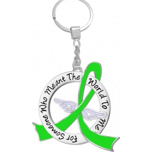 """""""Meant The World To Me"""" Tribute Keychain - Lime Green Ribbon"""
