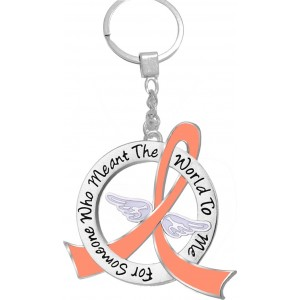 """""""Meant The World To Me"""" Tribute Keychain - Peach Ribbon"""