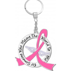 """""""Meant The World To Me"""" Breast Cancer Tribute Keychain - Pink Ribbon"""