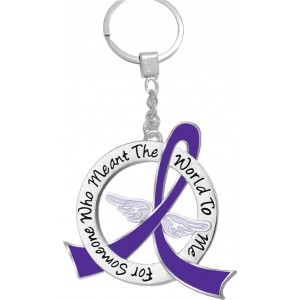 """""""Meant The World To Me"""" Tribute Keychain - Purple Ribbon"""