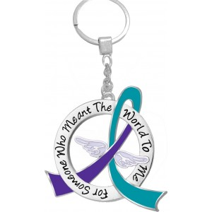 """""""Meant The World To Me"""" Tribute Keychain - Teal and Purple Ribbon"""