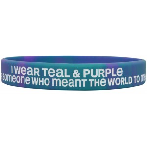 """""""Meant The World To Me"""" Suicide Awareness Silicone Wristband Bracelet - Teal & Purple Tie-Dye"""