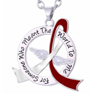 """Meant The World To Me"" Tribute Necklace - Burgundy & White Ribbon"