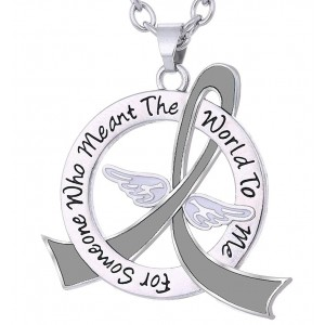 """Meant The World To Me"" Tribute Necklace - Grey Ribbon"