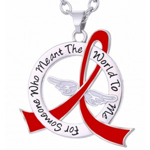 """Meant The World To Me"" Tribute Necklace - Red Ribbon"