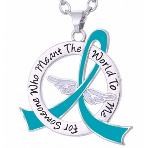 """Meant The World To Me"" Tribute Necklace - Teal Ribbon"