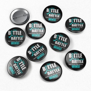 10-Pack Teal Ribbon Our Battle Too Buttons for Ovarian Cancer