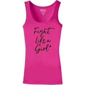 """Fight Like a Girl Script"" Ladies Stretch Tank Top - Pink"